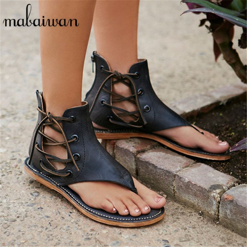 3d34bec3fe588 2017 New Hot Genuine Leather Women Flat Sandals Side Lace Up Summer Beach  Casual Shoes Woman Flip Flops Sandalias Mujer Flats