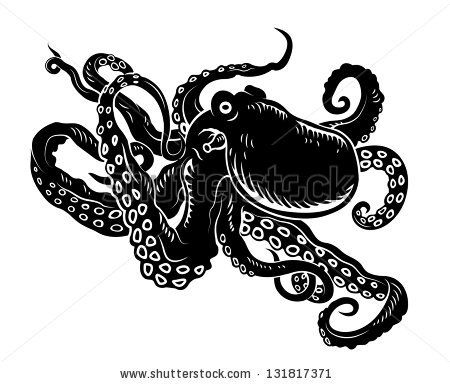 Wild ocean octopus with long tentacles for sealife design ...