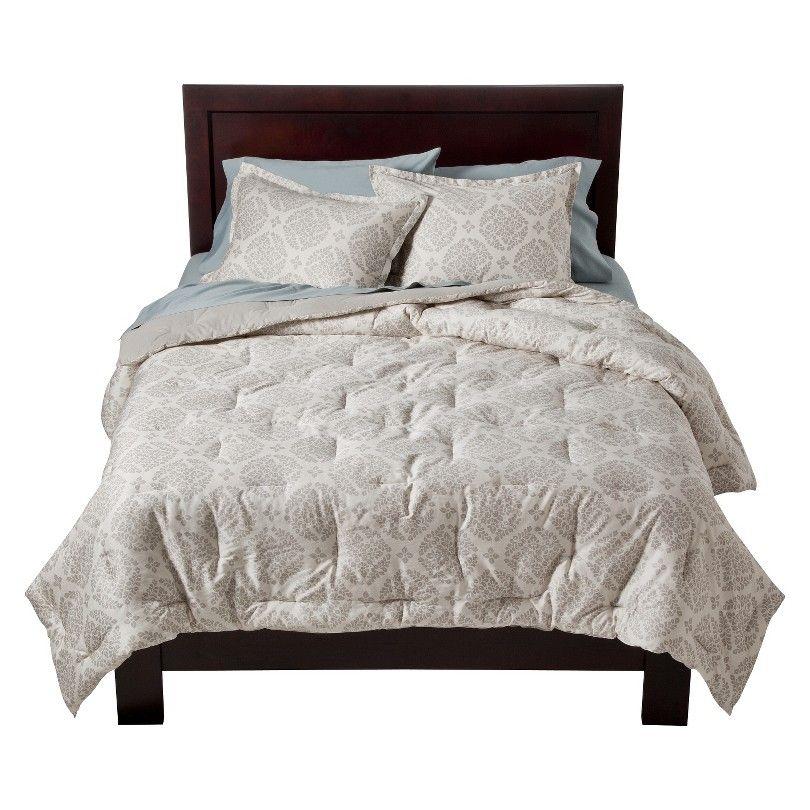 modern master bedroom with threshold seersucker duvet cover set | Threshold™ Global Geo Comforter Set - Gray | Our home ...