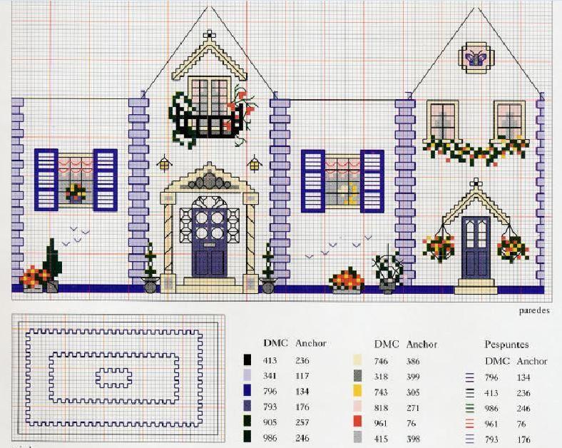Patrones y esquemas gratis: casas | Cross stitch | Pinterest - Punto ...