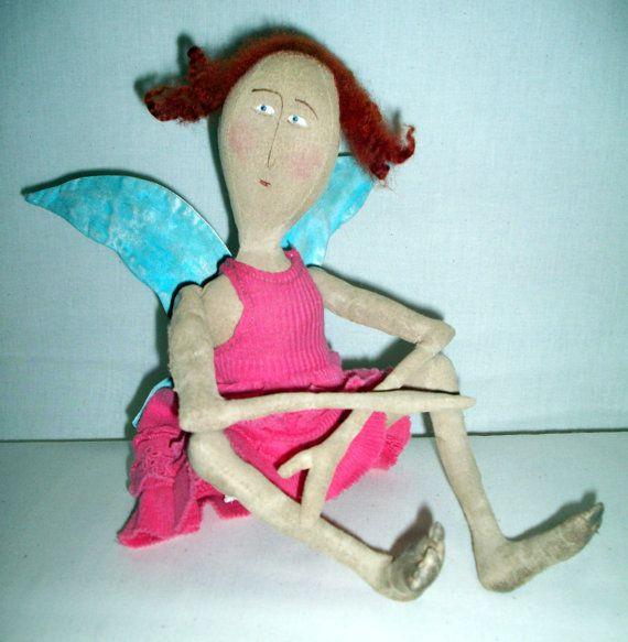 Simply Sweet Sew Be It OOAK sitting angel in pink by SistaSisu, $96.00