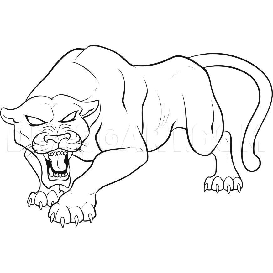 How To Draw A Black Panther Step By Step Drawing Guide By Dawn Dragoart Com Black Panther Drawing Panther Art Animal Coloring Pages