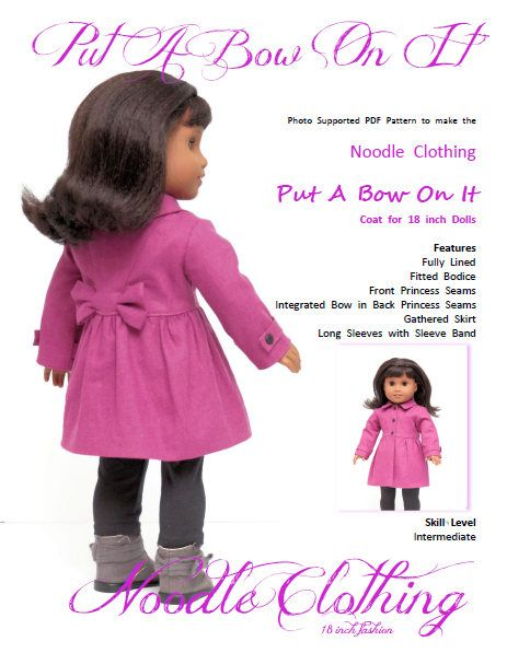 18 Inch PDF Doll Clothes pattern.  Put A Bow On It