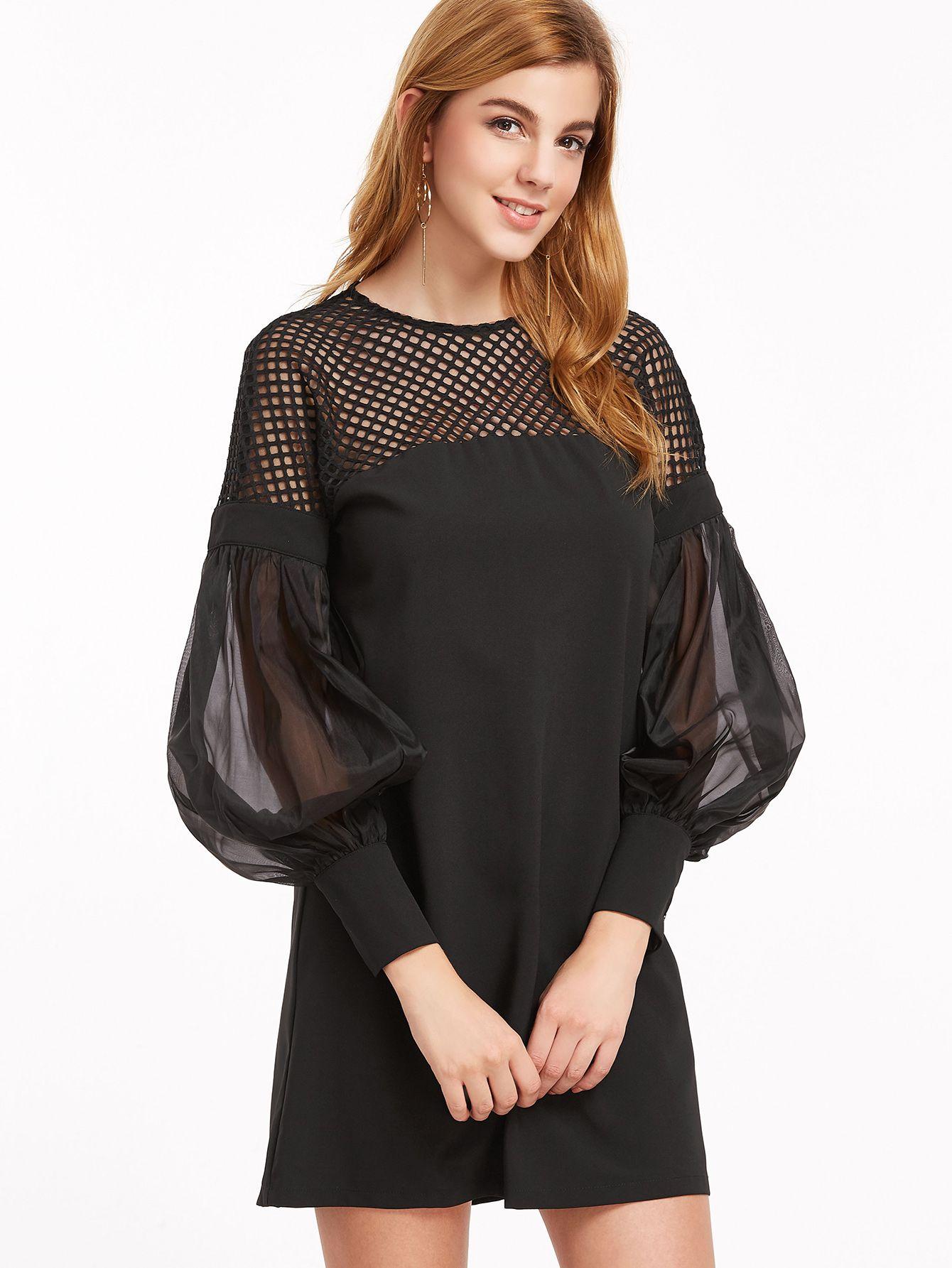 Black Eyelet Mesh Shoulder Sheer Bishop Sleeve Dress Fashion Outfits Fashion African Fashion Dresses [ 1785 x 1340 Pixel ]