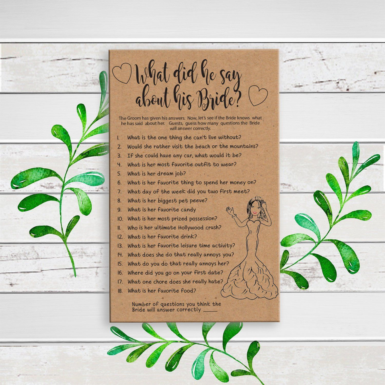 Kraft Paper What Did He Say About His Bride Printable