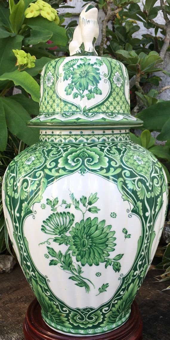 Rare Delft Green Ginger Jar Large Delfts By Guamantiquesnstuff