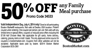Boston Market 50 Off Any Family Meal Purchase Coupon Free Printable Coupons Printable Coupons Restaurant Coupons