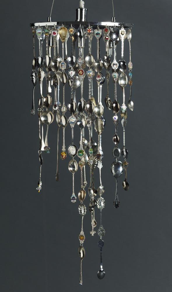 A Souvenir Spoons Chandelier Up Cycling Teaspoons Pinterest