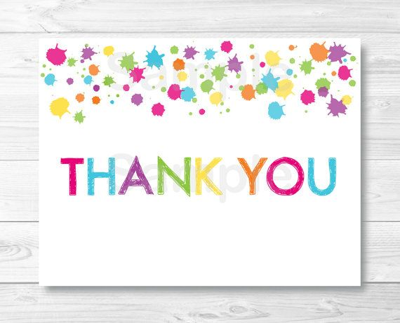 Rainbow Art Party Thank You Card Template \/ by LittlePrintsParties - thank you card template
