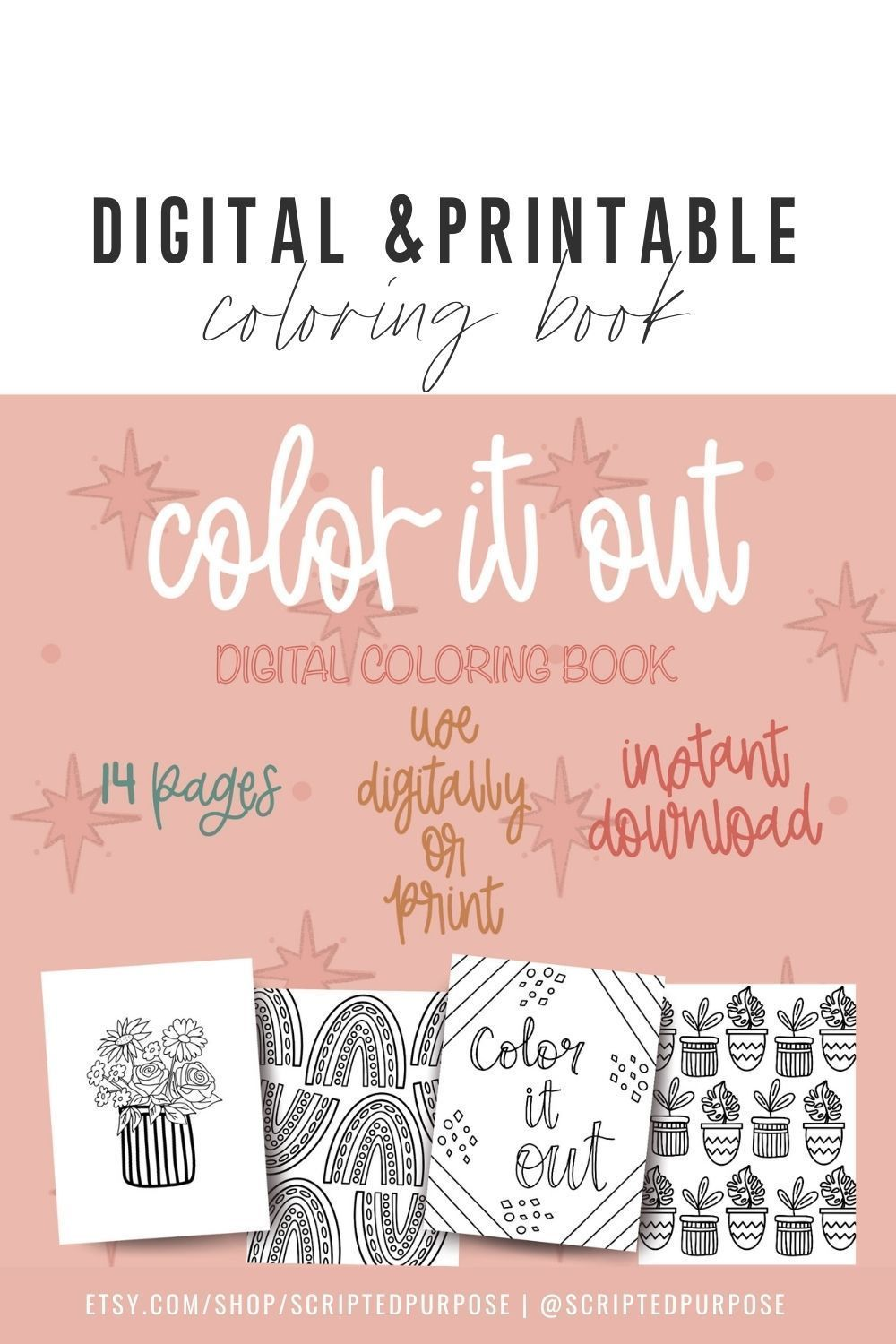 Digital Coloring Book Printable Coloring Book Procreate Etsy Printable Coloring Book Printable Coloring Coloring Books