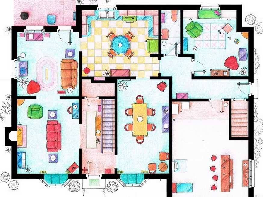 Coolest thing ever  Artist Sketches the Floor Plans of Popular TV    Artist Sketches the Floor Plans of Popular TV Homes  Seinfeld   TV show homes  Floorplans   Pinterest   Seinfeld  Floor Plans and The Floor