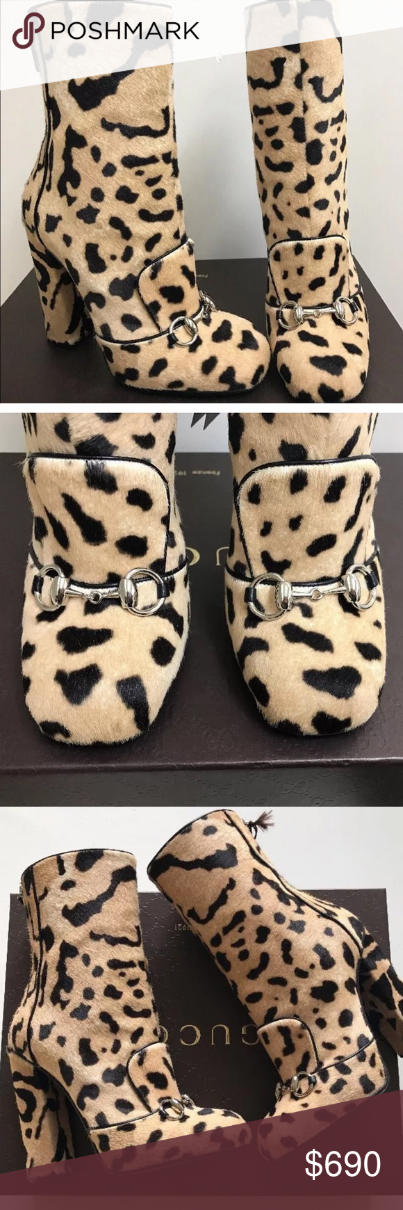 23bfed7be GUCCI Horsebit Leopard Pony Hair MId-Calf Boots Authentic Gucci Lillian  Horsebit Pony Hair Leopard