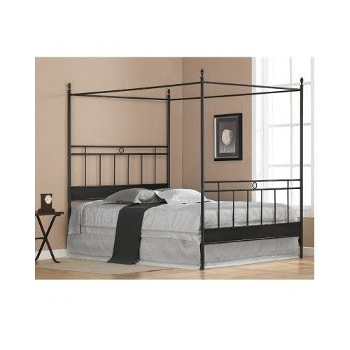 Queen Canopy Bed Black Metal Frame Headboard Footboard Kids Adults ...
