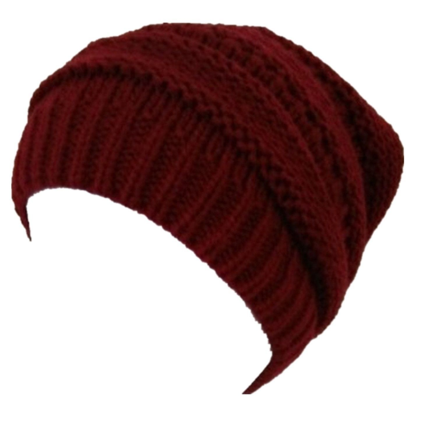 88c08ffd687 2 Pack-Winter Womens Mens Slouchy Soft Stretch Cable Knitted Slouchy Beanie  Caps Skully Hat