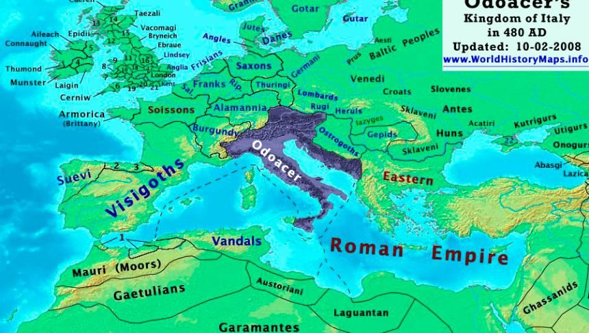 Odoacru, cunoscut şi ca Odovacar sau Flavius Odoacer, avea să se - best of world history maps thomas lessman