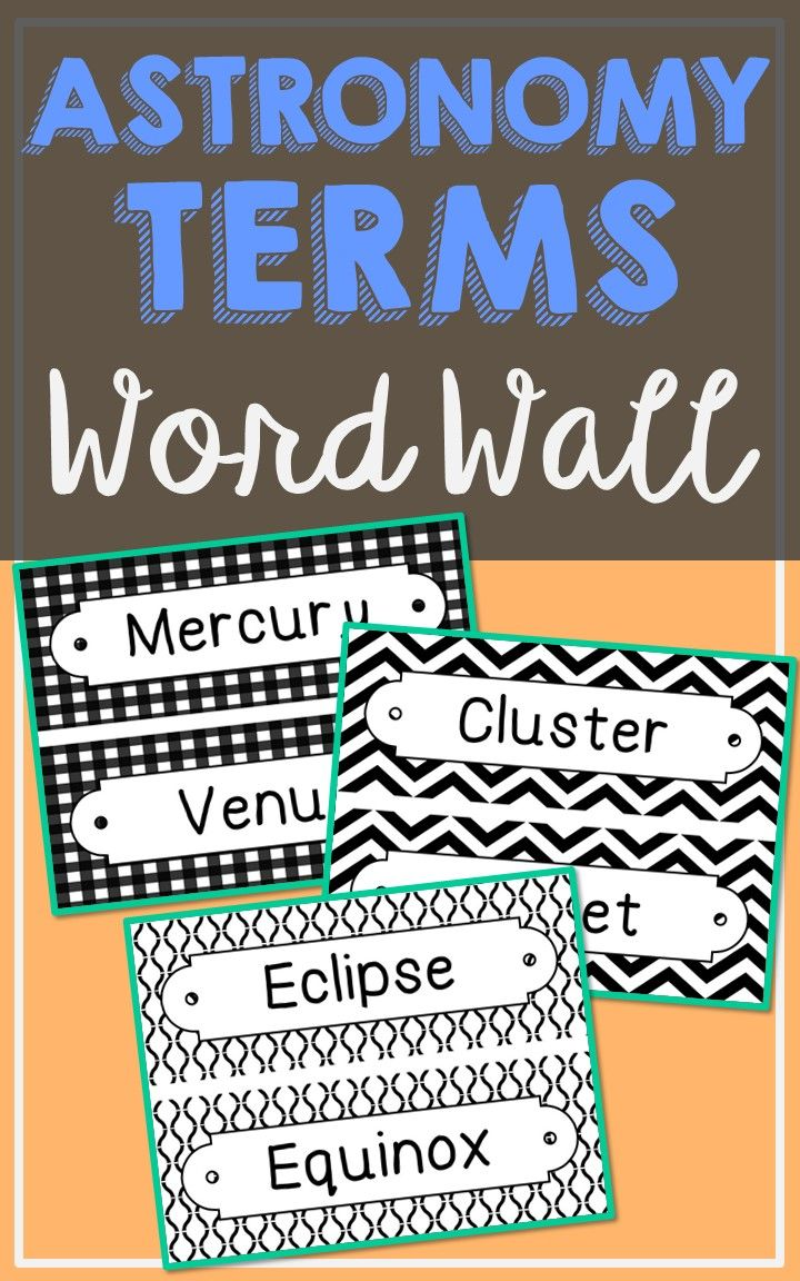 Astronomy Science Vocabulary Word Wall Each Of The 72 Terms Has Been Created In Black And White For Super Easy Printing