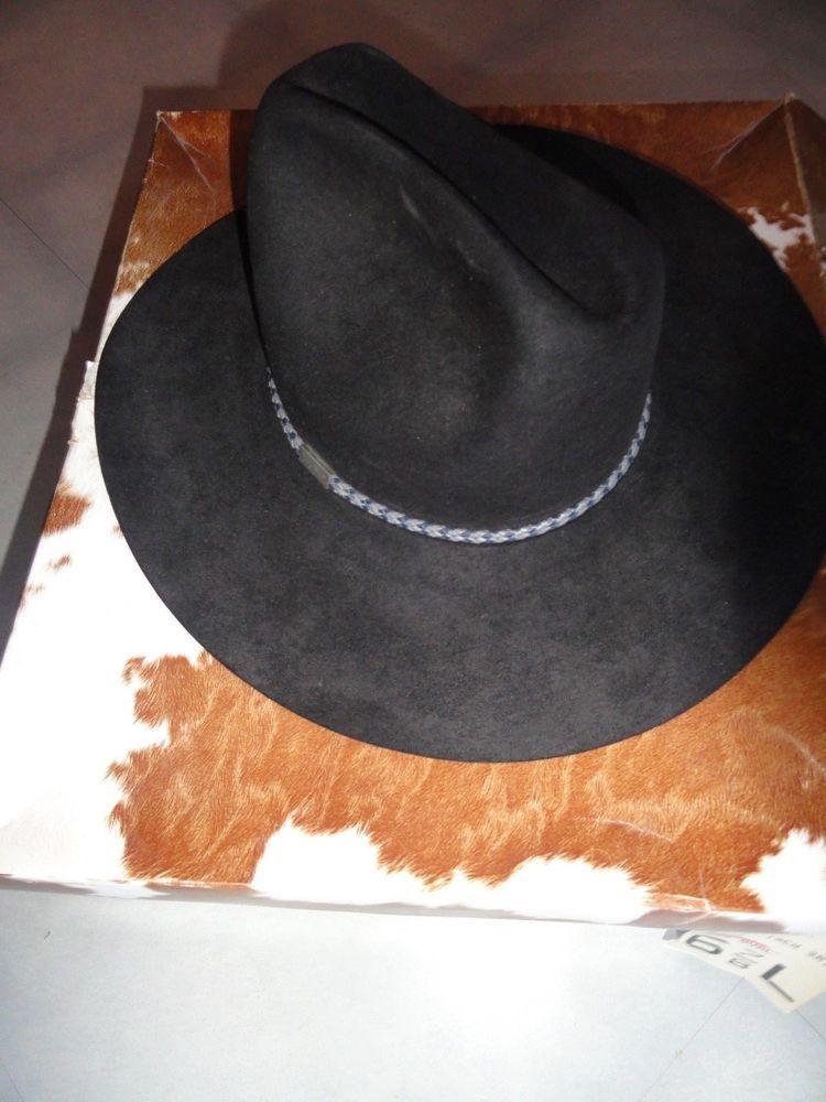 838dc4d1374c22 Resistol 4X Beaver Black Cowboy Western Hat USA Self Conforming Size 6 7/8  RIATA #Resistol #CowboyHat