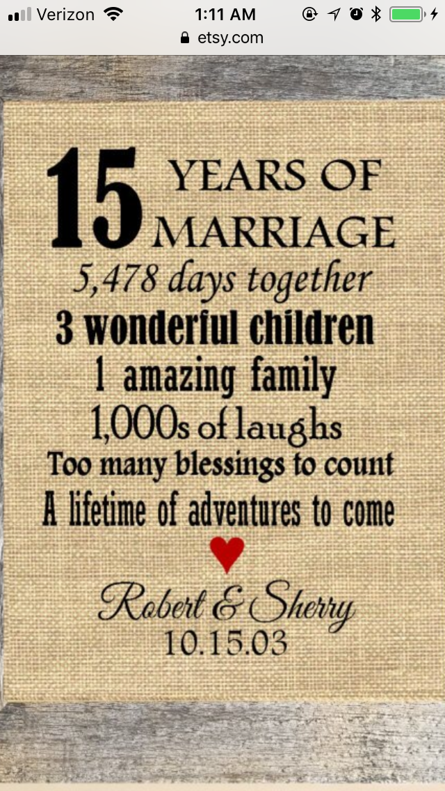 15th Anniversary 15th Wedding Anniversary Gift 15 Year Wedding Anniversary 15th Wedding Anniversary