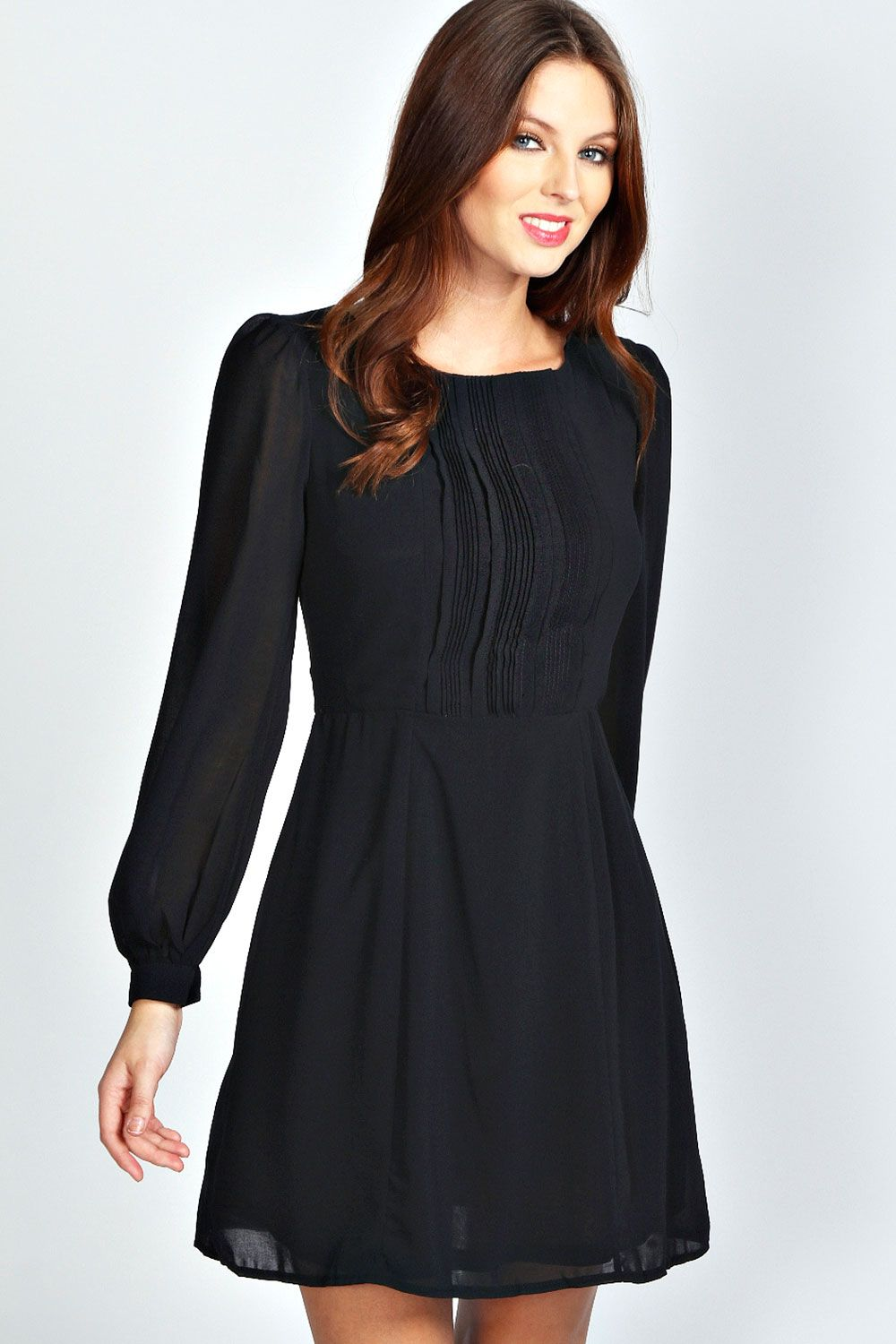 Isabel long sleeve chiffon fit and flare dress fit and
