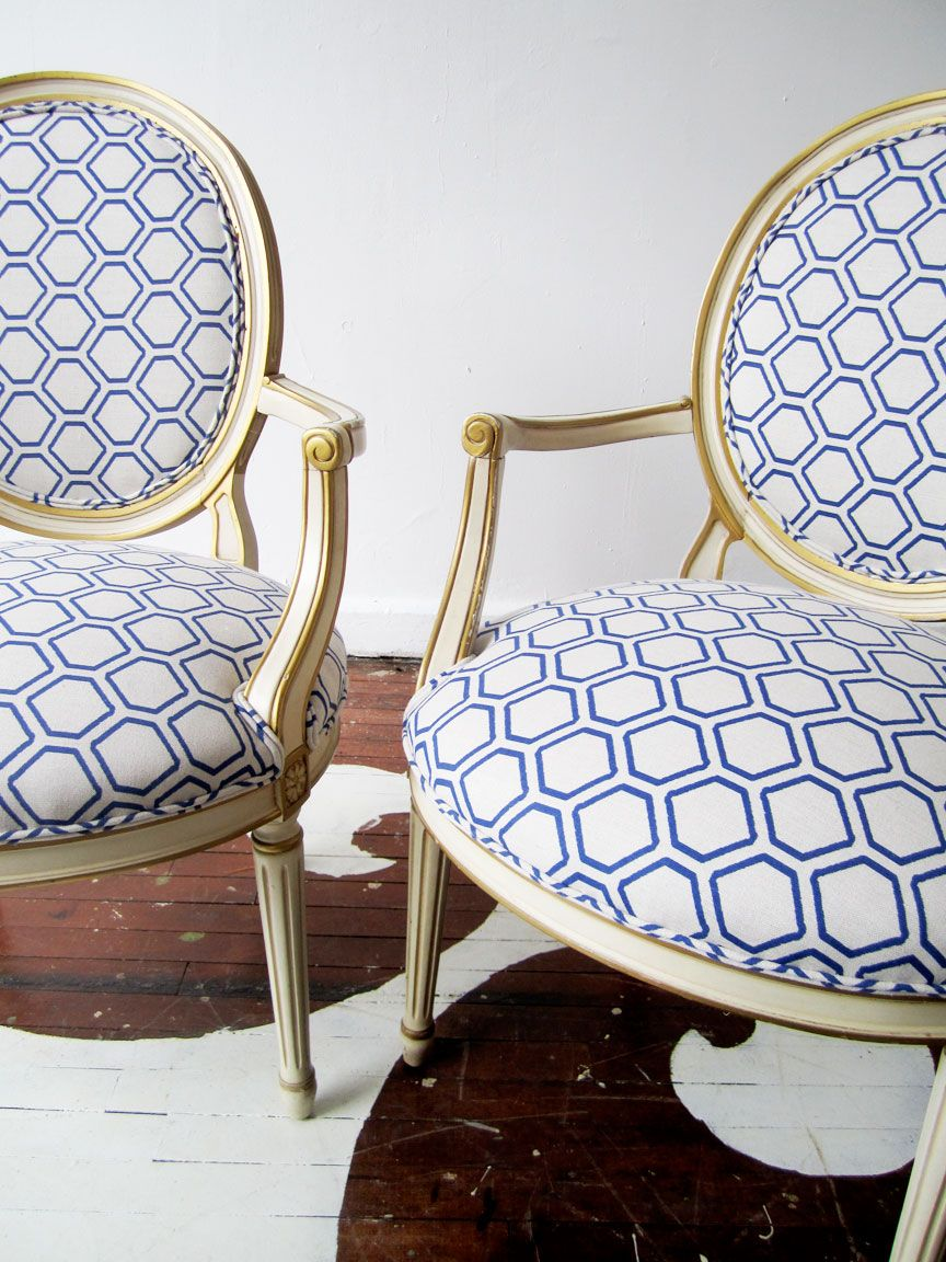Kyle Knight worked magic on these vintage chairs using Amanda Nisbet's Chip textile in Blueberry on Oatmeal.