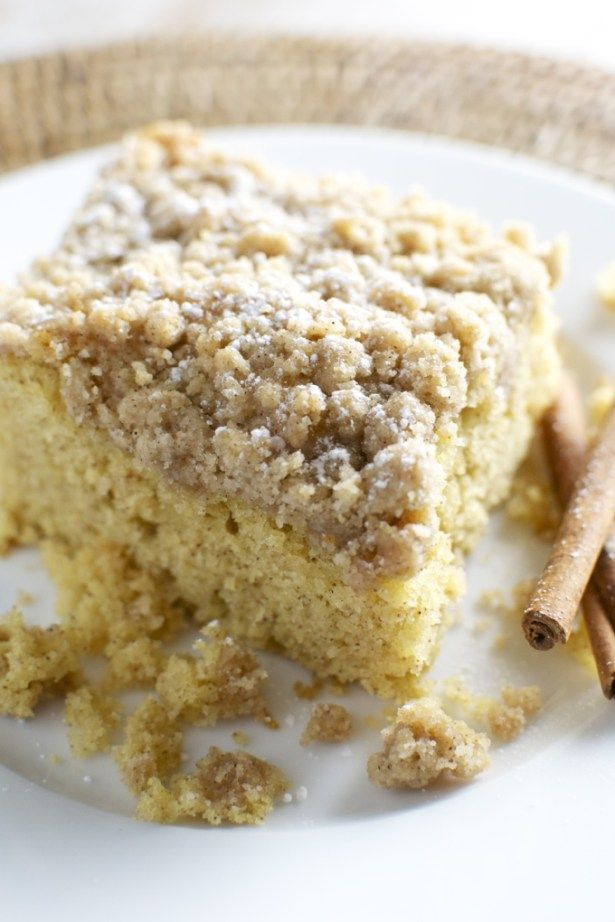 Cinnamon Crumb Cake is moist and crumbly and has the perfect amount of cinnamon. It's a great dessert that's easy to make!