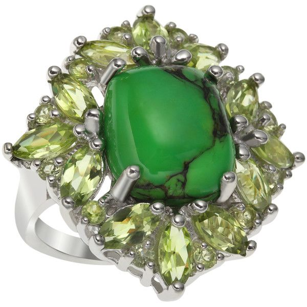 Sterling Silver 25.09ct Green Mohave Turquoise and Peridot Ring ($53) ❤ liked on Polyvore featuring jewelry, rings, green, turquoise jewelry sets, peridot rings, vintage turquoise jewelry, sterling silver turquoise ring and vintage turquoise ring