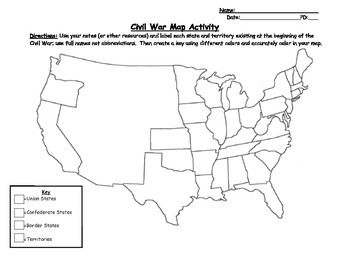 Civil War Map And State Sort Map Activities Civilization Map