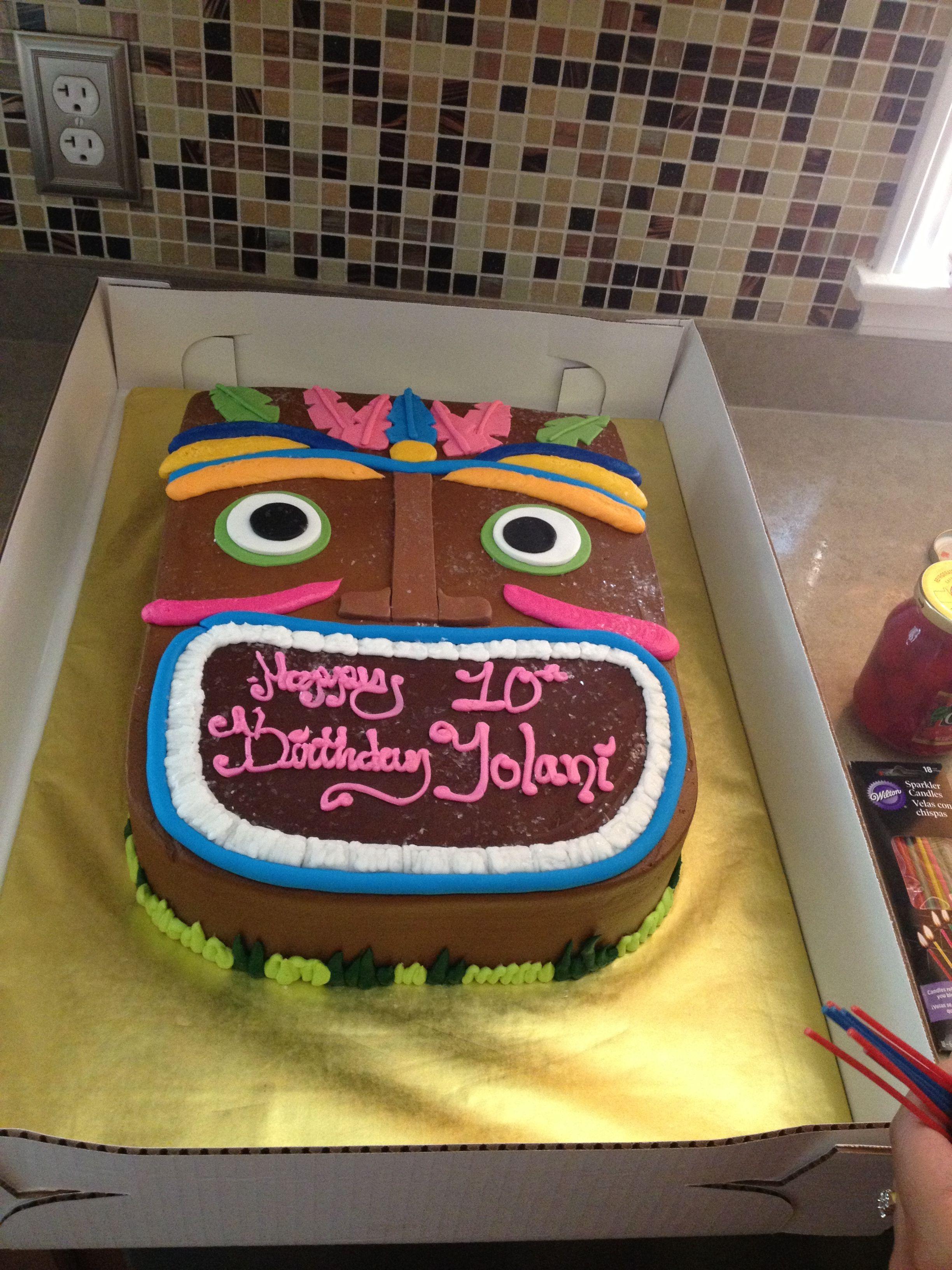 Tiki theme birthday cake