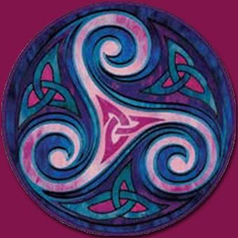 triskele with celtic trinity knots... I love how this is all colorful and the circle around it.