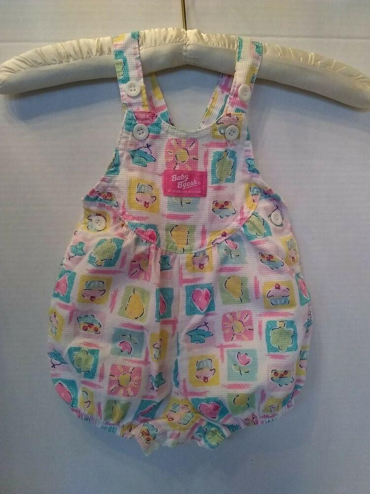 8f053f30e0b1 Vtg Oshkosh Baby Pink Pastel Vestbak Romper Cupcake Heart Tree Spring 6-9  MO  OshKoshBgosh  Romper