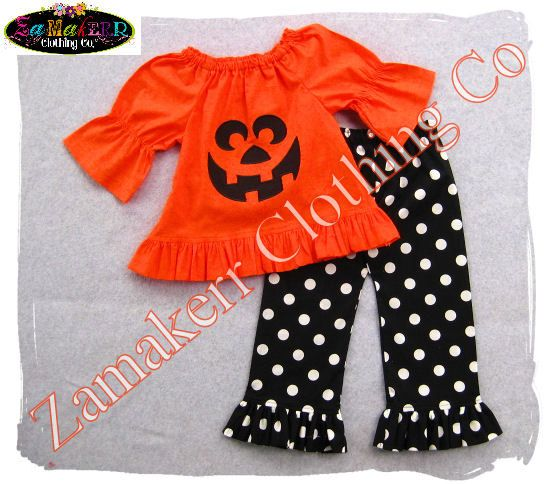 56692421802aa Custom Boutique Pumpkin Face Halloween Outfit Pant Set Toddler Infant Baby  Girl Clothes 3 6 9 12 18 24 month size 2T 2 3T 3 4T 4 5T 5 6 7 8 on Etsy,  $47.99
