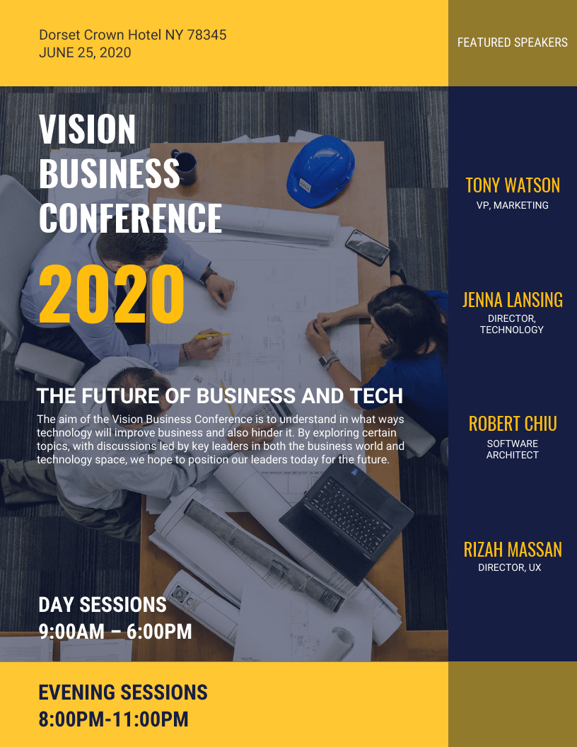 blue yellow business conference event flyer idea venngage flyer