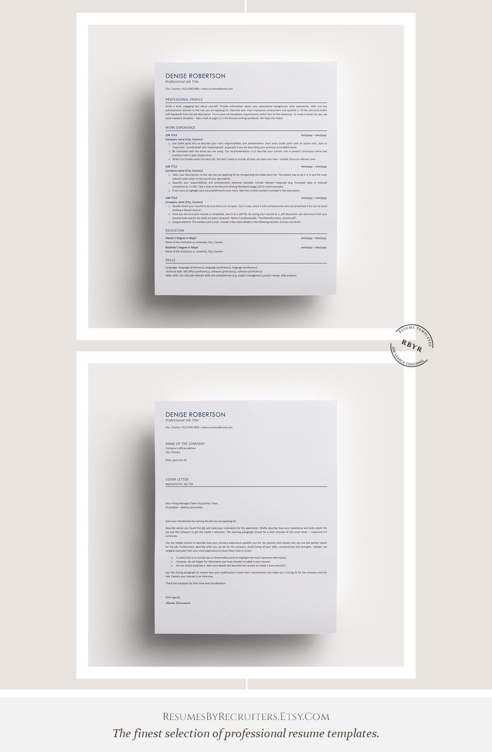 Executive ATS friendly Resume Template, Instant Download