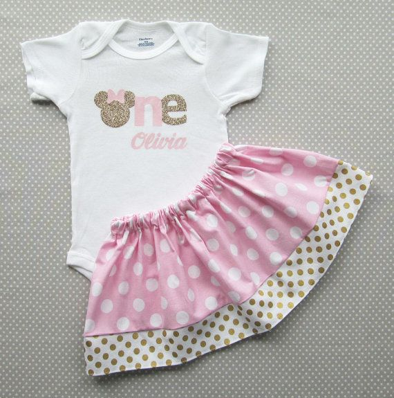 57c2001ccbddd Pink and Gold Minnie Mouse First Birthday Outfit with minnie shoes ...