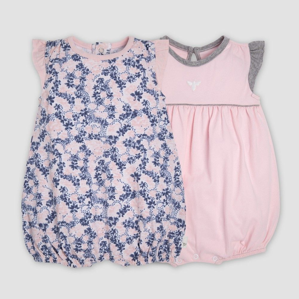 e90eb047a Burt's Bees Baby Baby Girls' 2pk Organic Cotton Ditsy Blossoms Bubble Romper  Set - Indigo 6-9M, Blue