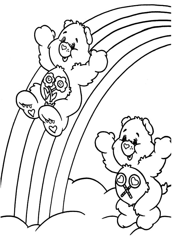 Care Bears Sliding At The Of Rainbow Coloring Pages Best Place To Color In 2020 Mermaid Coloring Pages Bear Coloring Pages Unicorn Coloring Pages