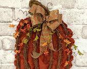 Pumpkin Door Wreath, Pumpkin Wreath, Fall Wreath Door, Fall Decor, Grapevine Pumpkin, Burlap Pumpkin,Autumn,Wall Door Decor,Door Hanger