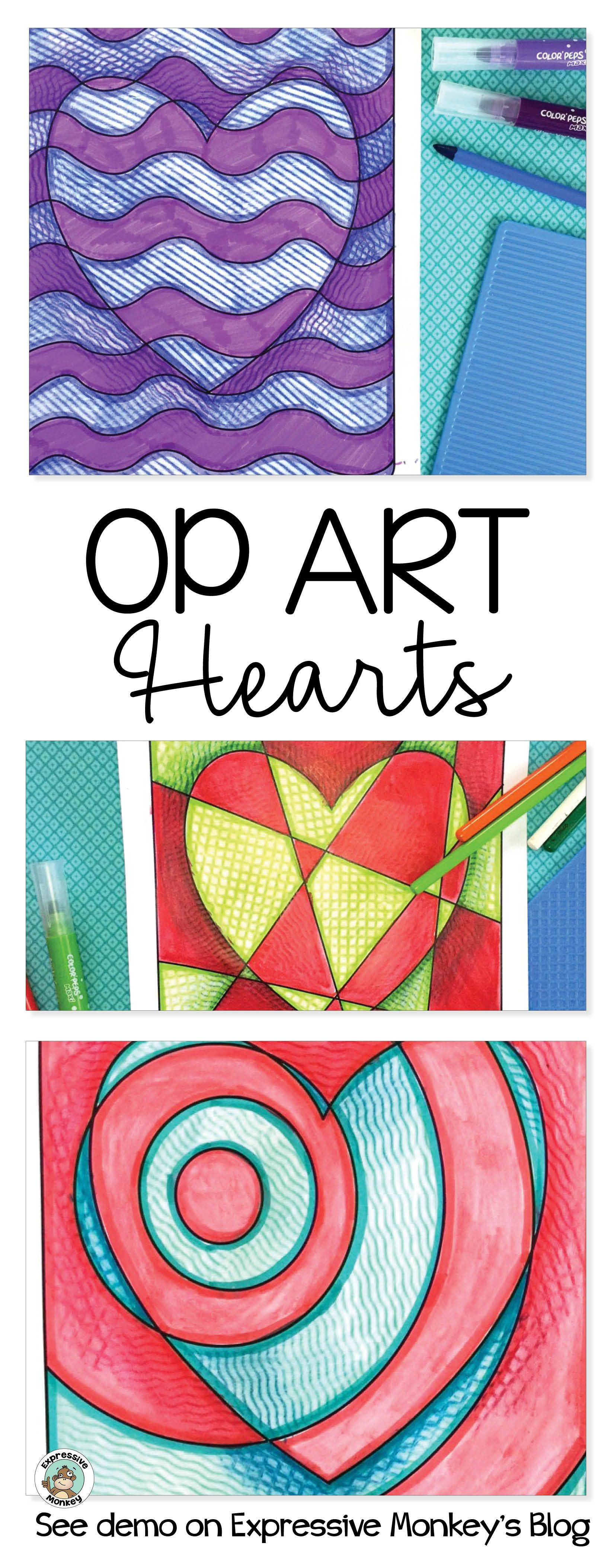 Op Art Hearts Is Perfect Art Lesson For Valentines Day See The Art Techniques That Make These