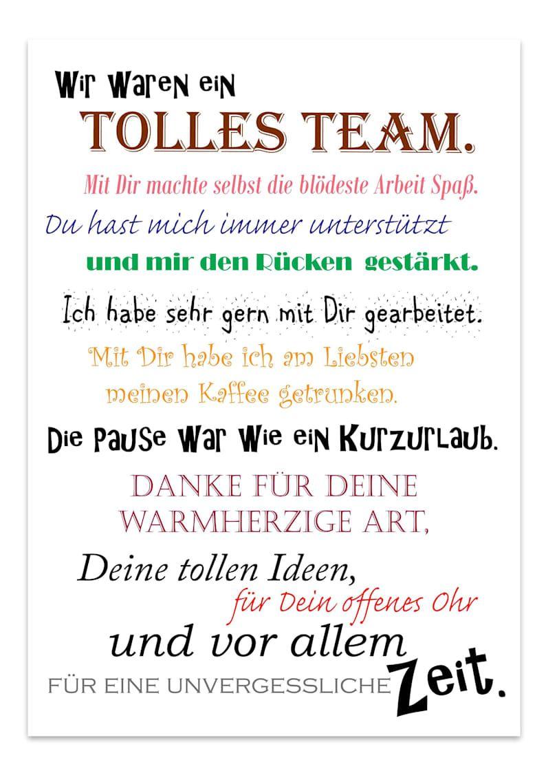 Abschied Kollege/Kollegin Geschenk Ruhestand Jobwechsel Dankeschön Poster A4