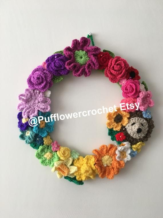 Photo of Summer flower wreath – Spring wreath – Rainbow Wreath – crochet flower wreath – wall hanging – fall wreath – fall door hanger