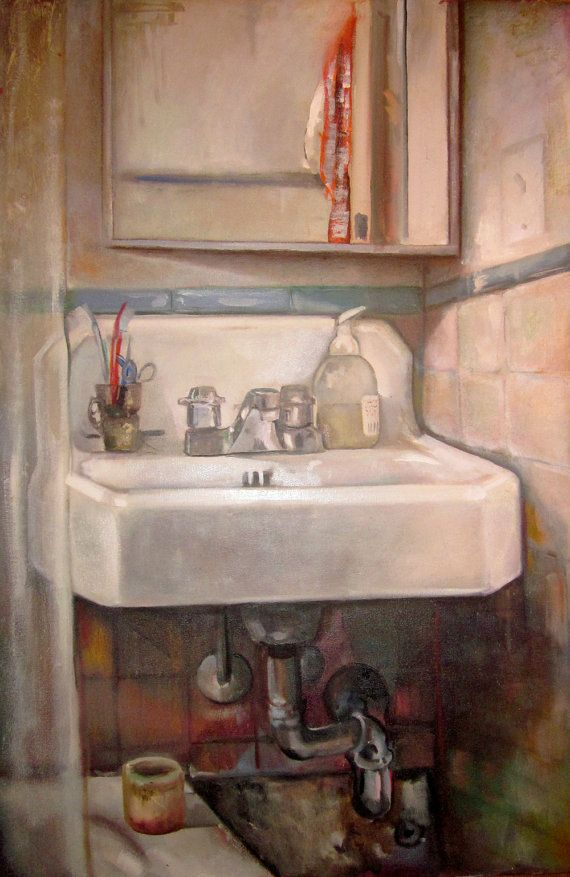 Le Sink Bathroom Art Original Oil Painting On By Studiojulietteb 645 00 Art Interior Paintings Still Life Art