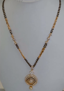 Beautiful Short Mangalsutra Design With Black Beads