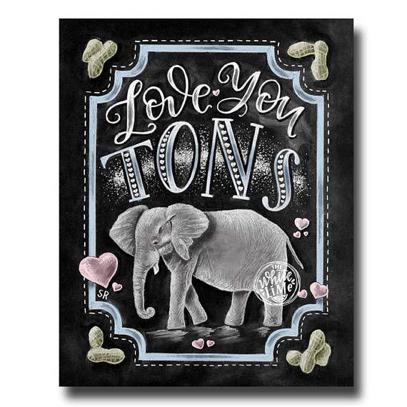 Elephant Print Chalk Art Elephant Baby Shower Love You