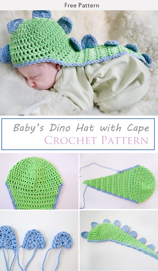 Baby's Dino Hat with Cape Crochet Free Pattern #crochetdinosaurpatterns