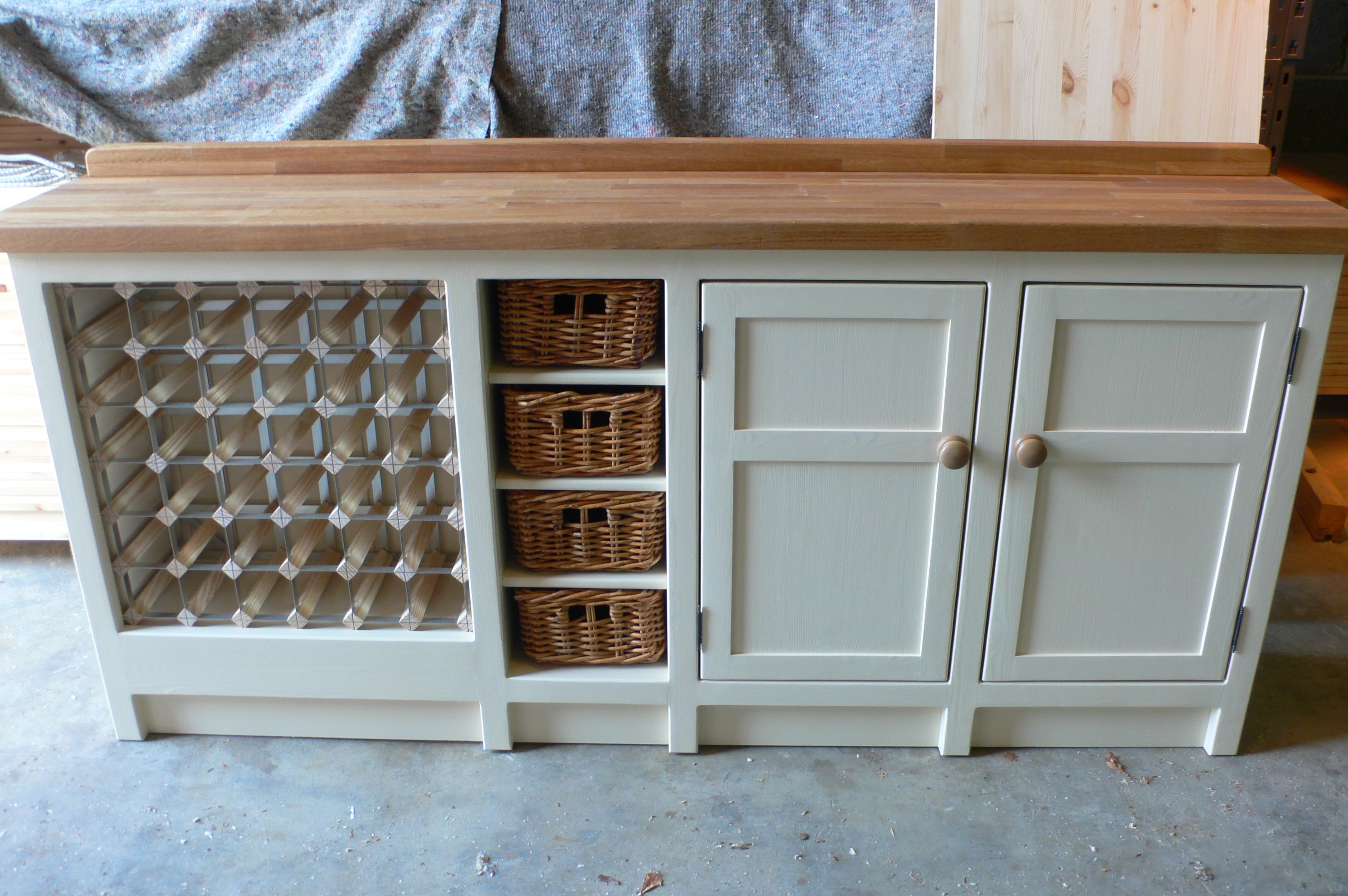 Freestanding Kitchen Unit With Basket And Wine Rack Features