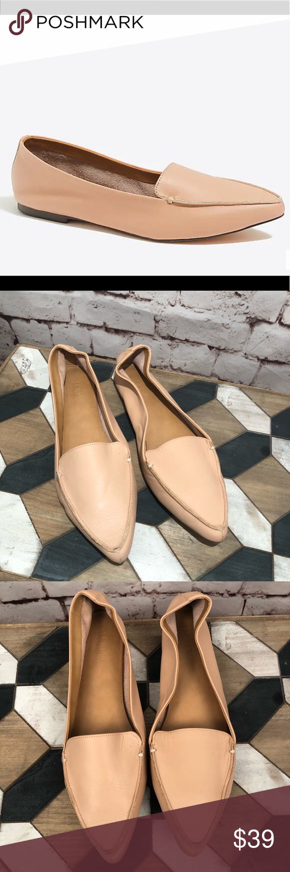 a85c0734041 J. Crew Edie Leather Loafers In Warm Beige Nude J. Crew Edie Leather Loafers  In Warm Beige Nude color. Slip on leather loafers with pointed toe.
