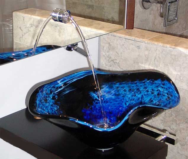 "Bathroom Sinks Glass Bowls night dance"" from white elk's visions in glass 