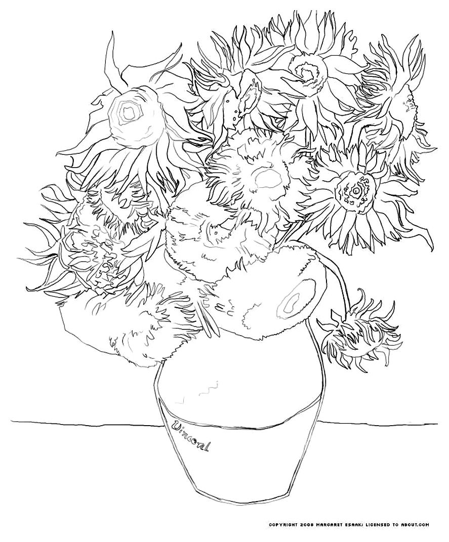 Free coloring pages van gogh - Free Coloring Page Coloring Van Gogh Tournesols The Famous Van Gogh Sunflowers