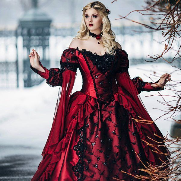 Discount Fantasy Fairy Medieval Gothic Wedding Dresses: Gothic Winter Wedding Sleeping Beauty Red And Black