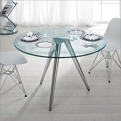 Tonelli Unity Round Glass Table With Chrome Legs | 3 Sizes